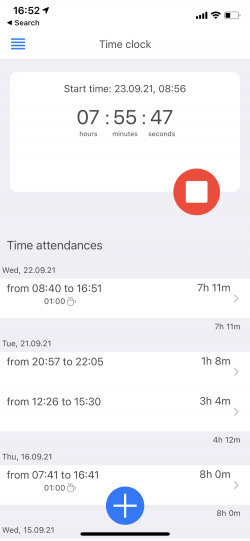 subsequent attendances time clock mobileapp