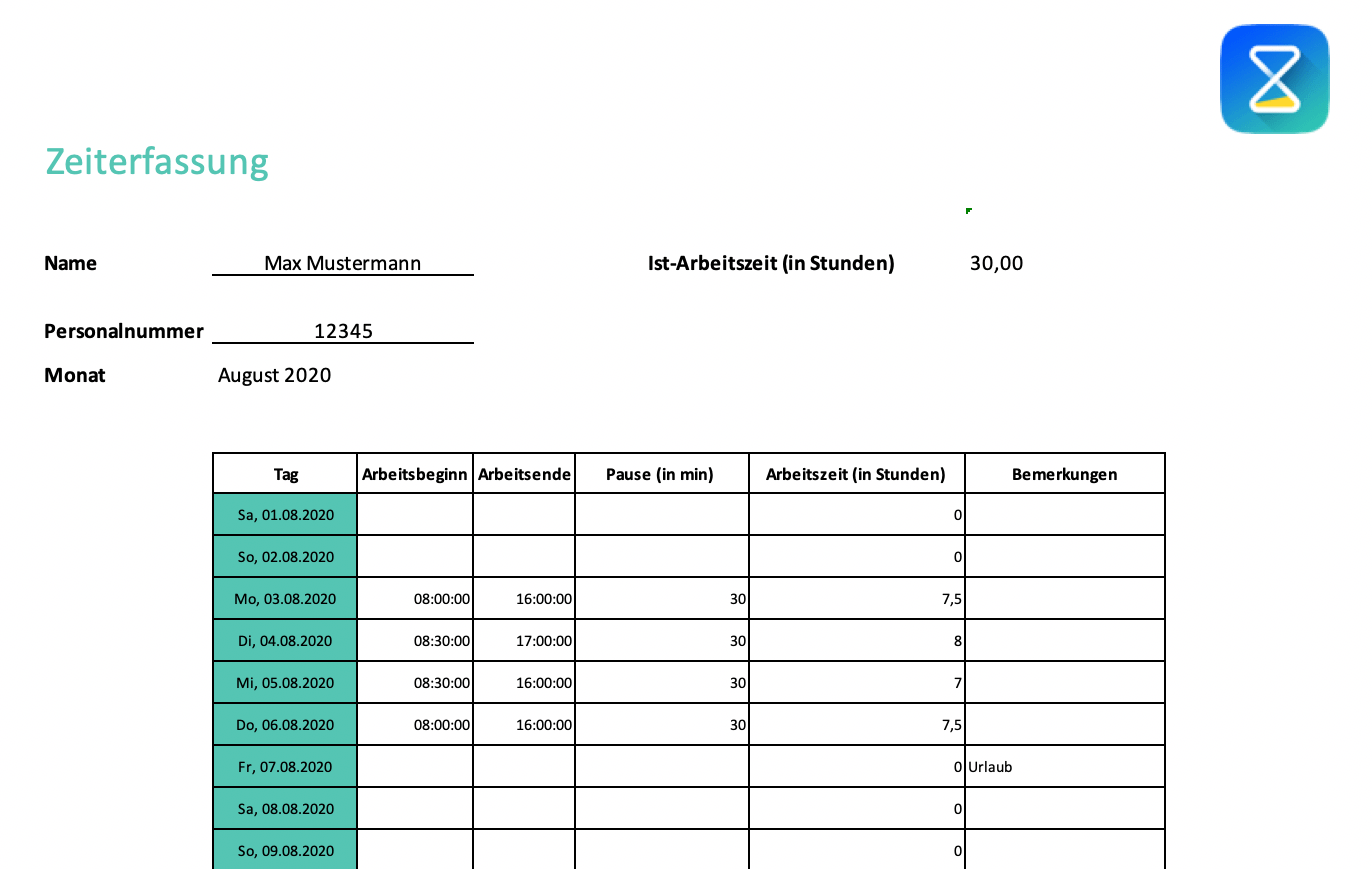 Zeiterfassung-Vorlage