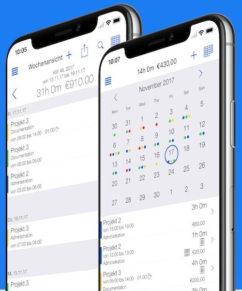 Zeiterfassung App - Wochenansicht