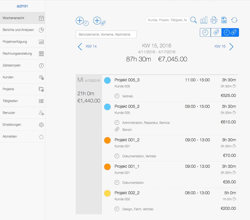 Zeitmanagement App - Überblick Web App