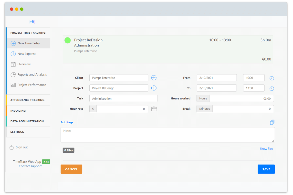 Project Time Tracking with TimeTrack