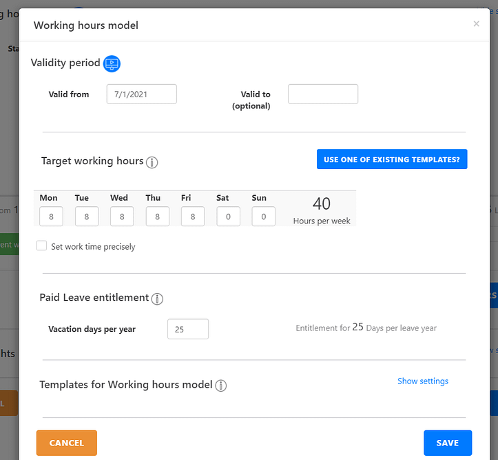 Add Working Hours Model