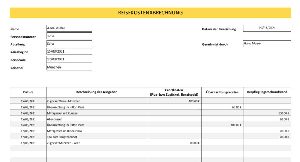 Reisekostenabrechnung Vorlage Titelbild