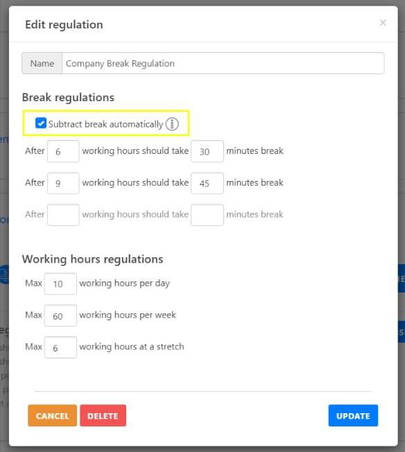 Break Regulation Automatic Break Deduction