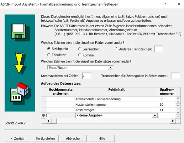 ASCII-Import Assistent 2