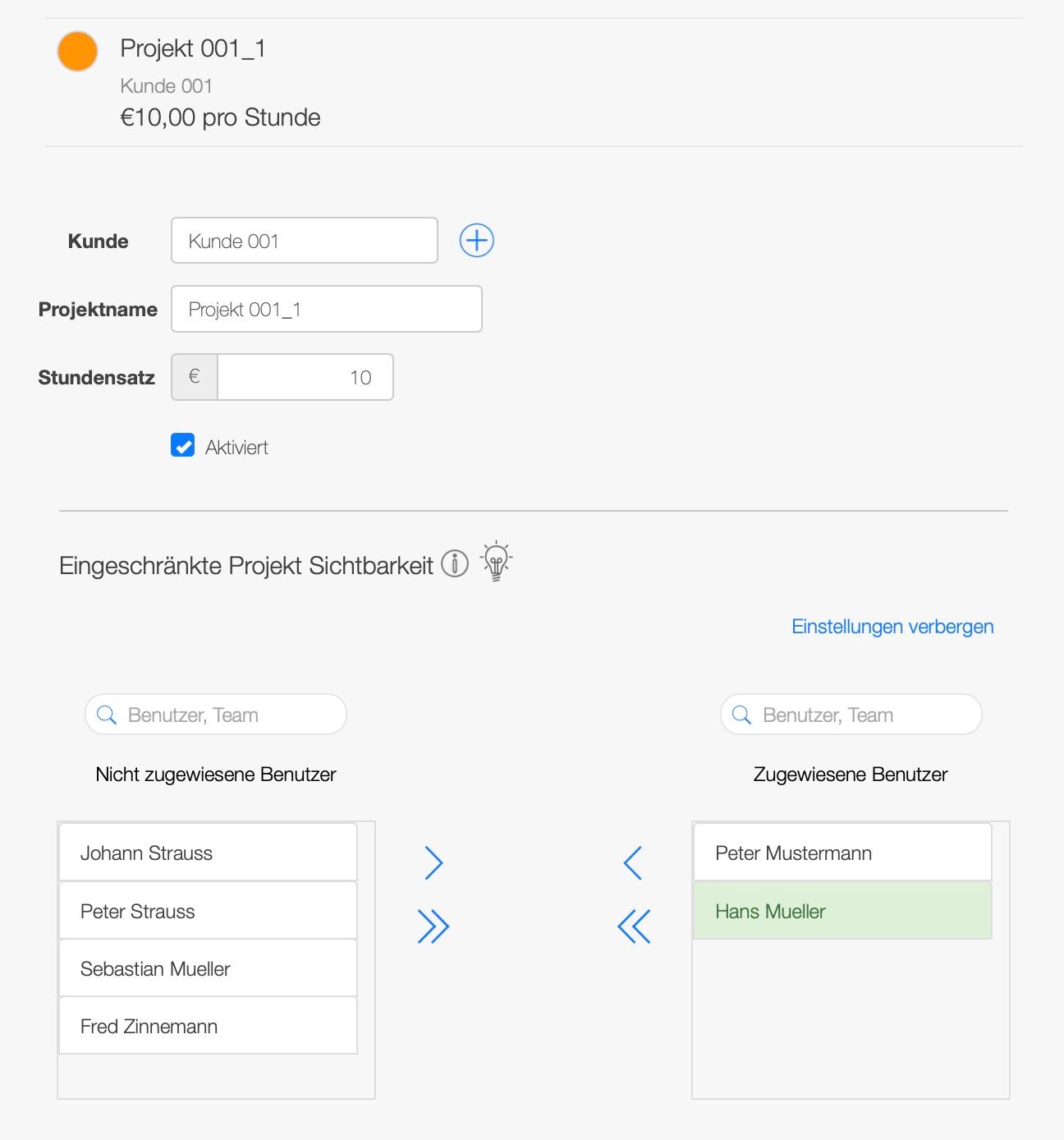 Projektmanagement Software - Benutzerberechtigungen für Projekte