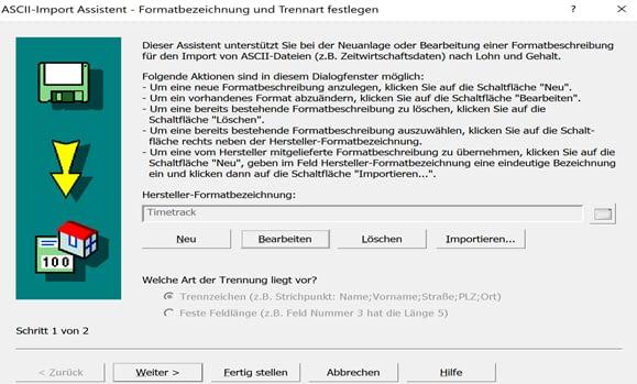 ASCII-Import Assistent 1