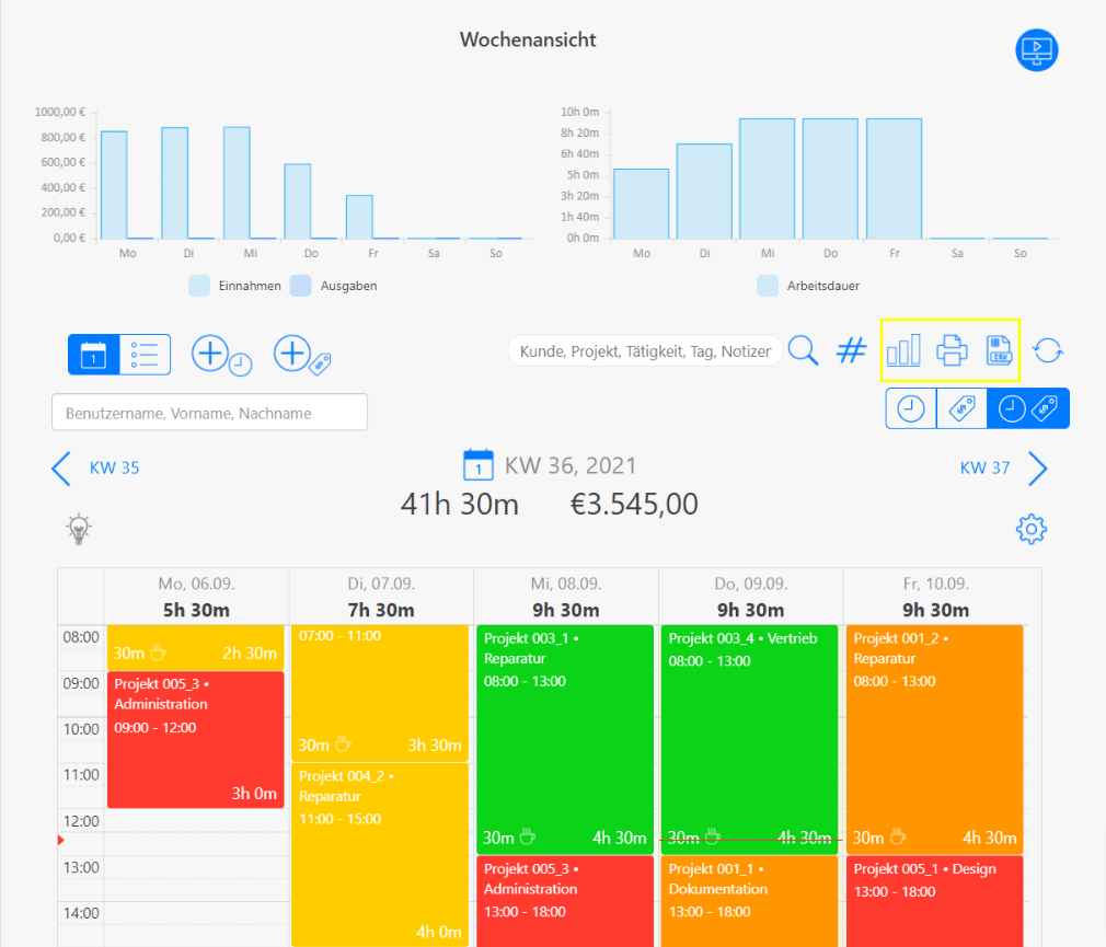Wochenansicht Kalenderansicht Filtermöglichkeiten