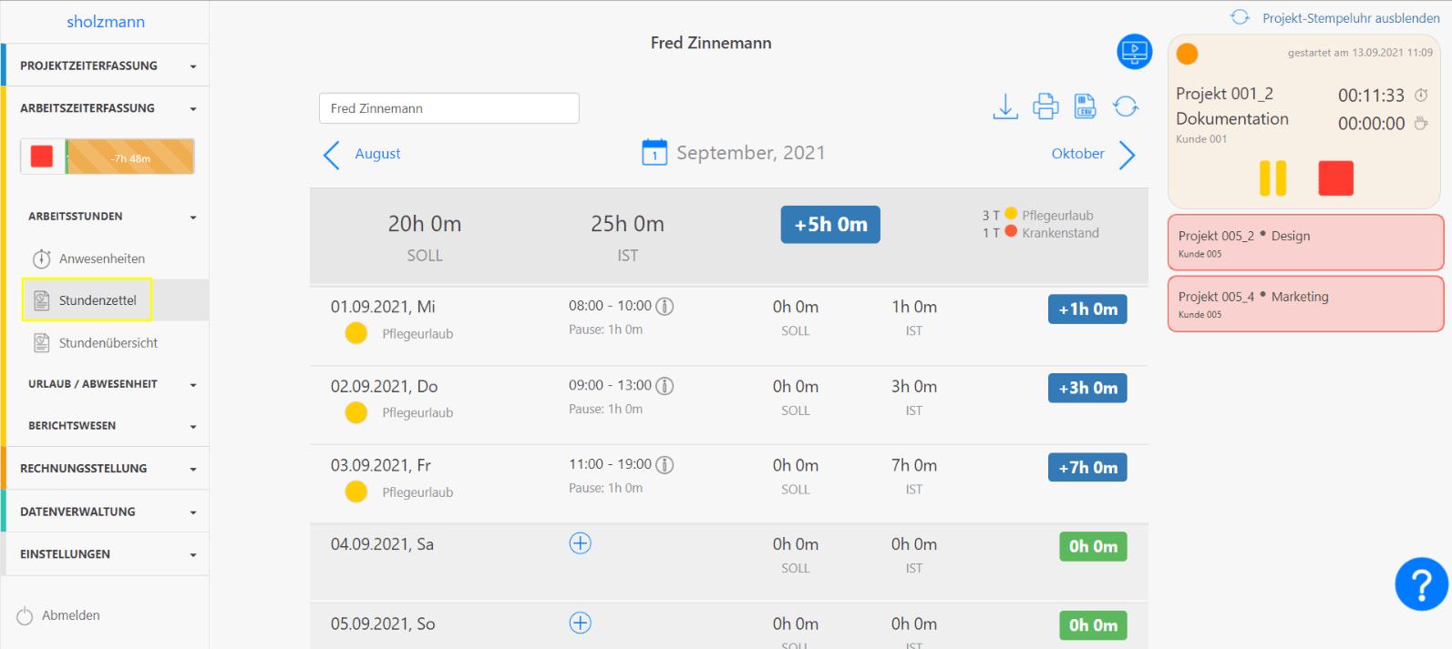 Projekt-Stempeluhr Stundenzettel