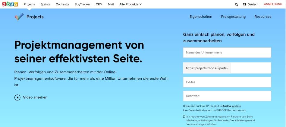 zoho-webseite