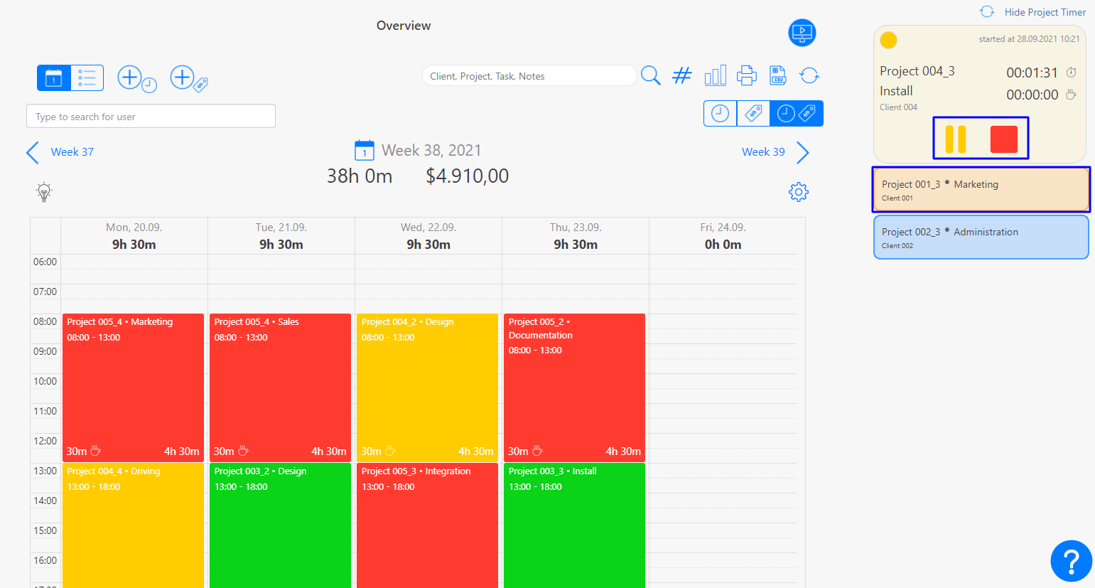 Project Timer Project time tracking