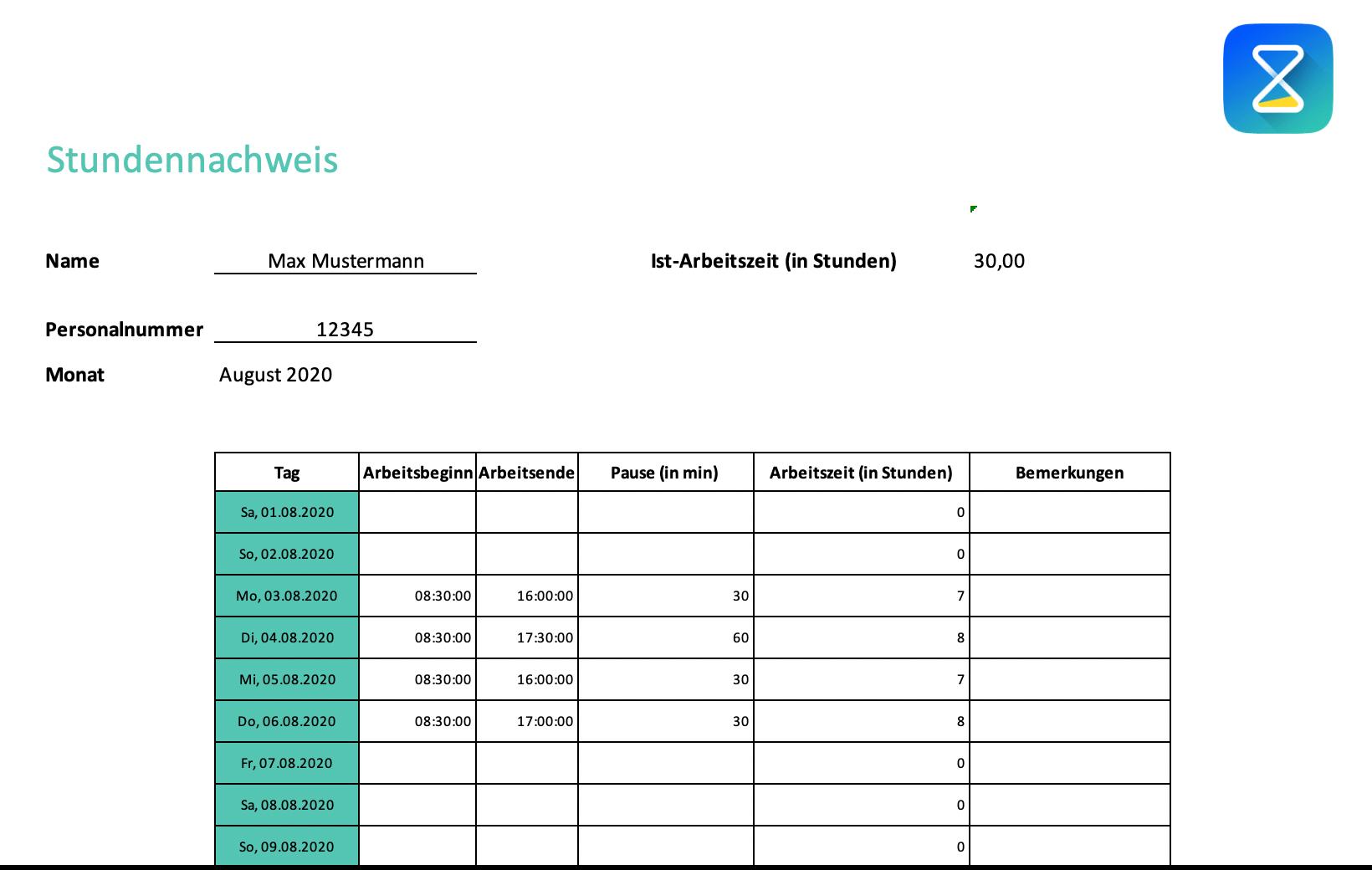 Stundennachweis-Vorlage