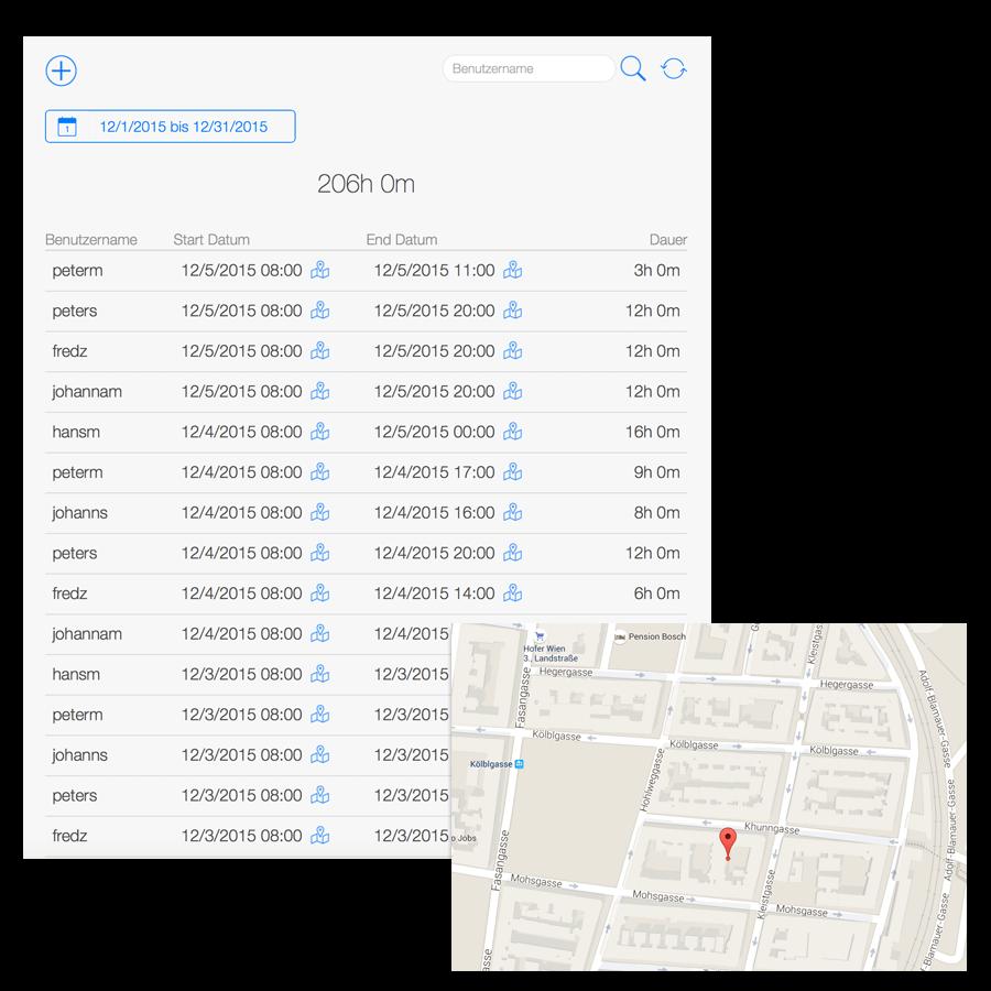 Arbeitszeiterfassung - Anwesenheiten und GPS Ortung
