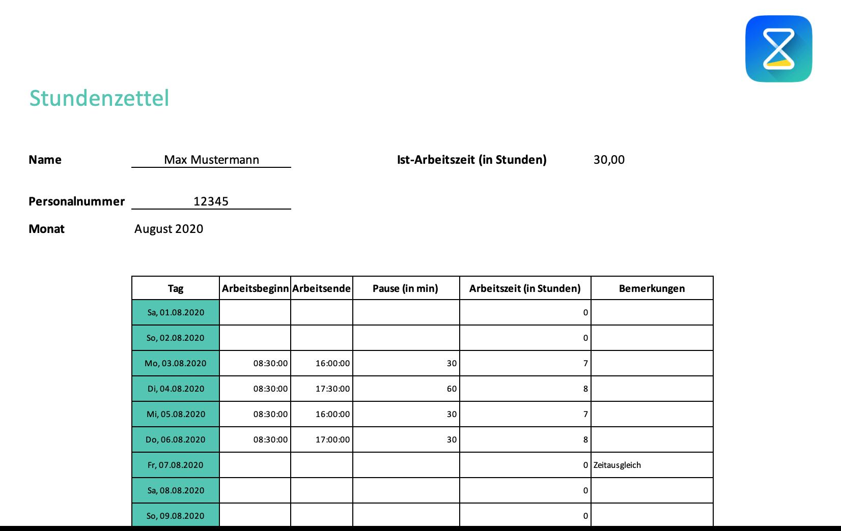 Stundenzettel-Vorlage